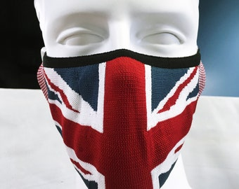 """Face Mask """"Union Jack"""" - Size M/L washable reusable Sport fit Mask with elastic ear loops & Filter Pocket - double Layer fabric Made in USA"""
