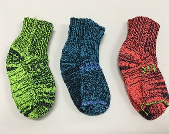 3 Pair 3 to 6 months Super hero baby socks - Comic book inspired colors red, blue green baby socks - Made in California, USA