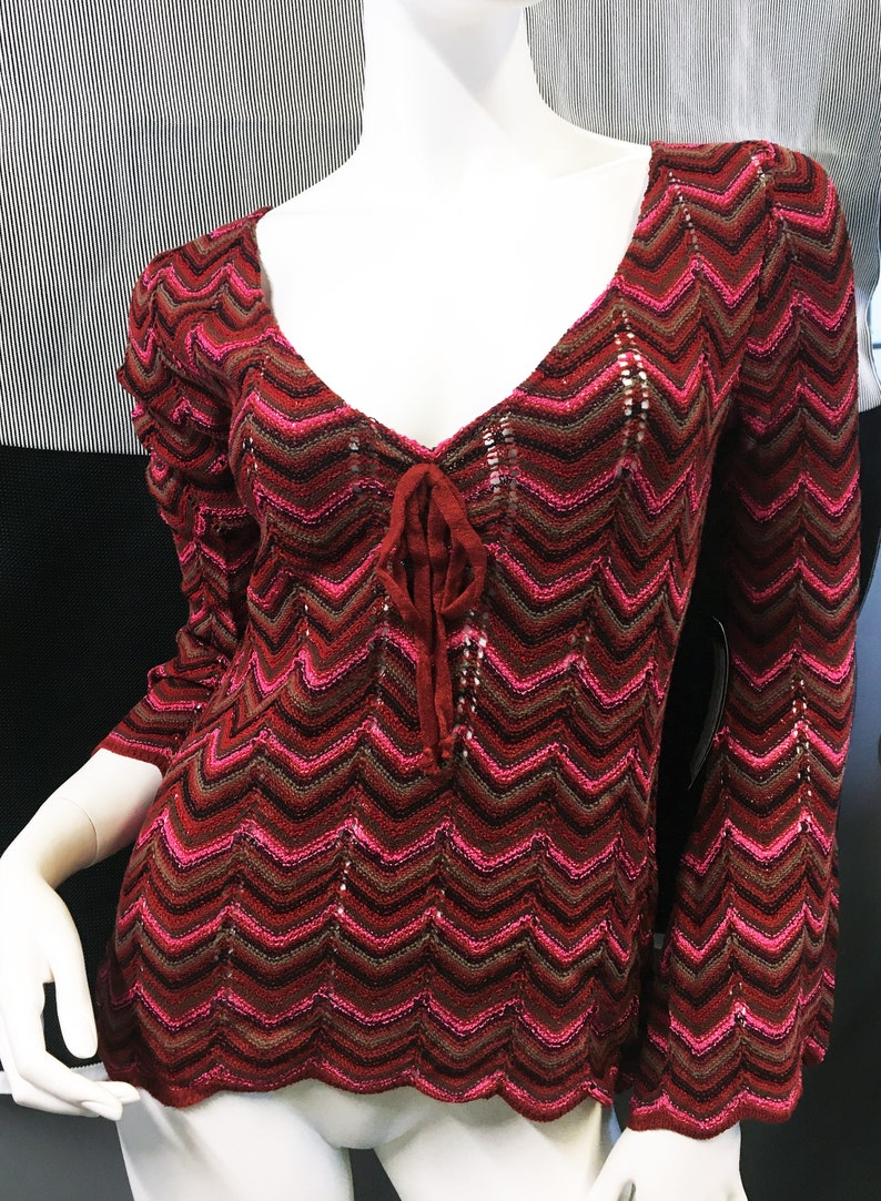 Valentine Sweater  Red French Parfait Knit  Sweet Heart Neck image 0