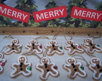 Gingerbread Man Crochet Christmas Ornament, Gift Tag, Holiday Decor