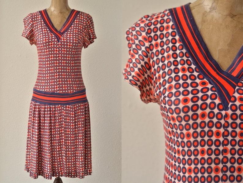 d91eb8f62dc3d 70s does 20s Vintage Flapper Polka Dot Dress Drop Waist | Etsy