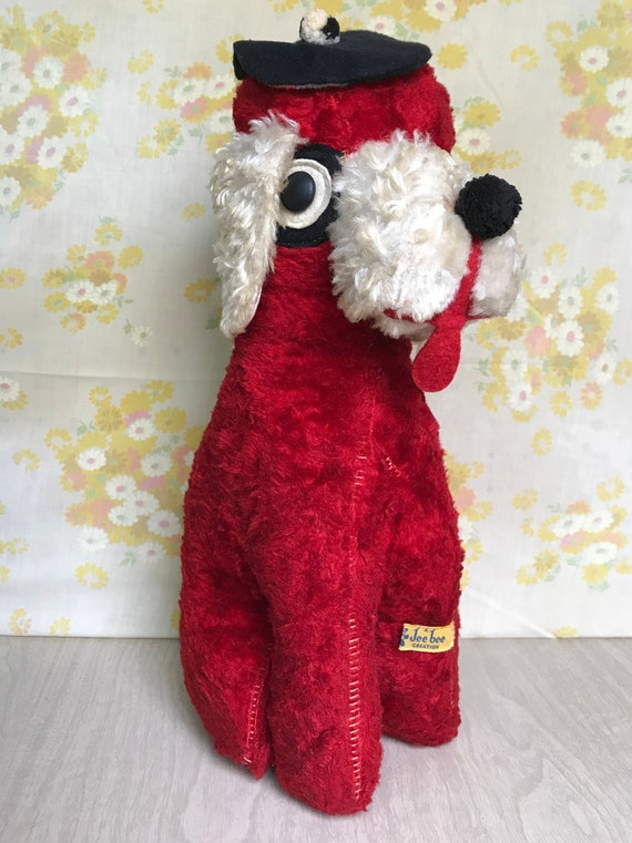 1950 S Vintage French Poodle Stuffed Animal Red Dog Etsy