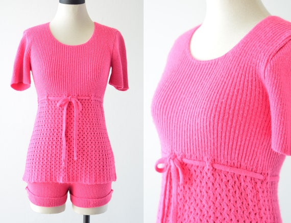 70s Vintage PINK KNIT SUIT by House of Knitts, Two