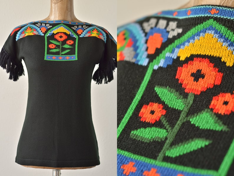 fringe sleeves short sleeve sweater Huipil 70s vintage black floral embroidered knit top by Melange hungarian top boho tassel tunic top