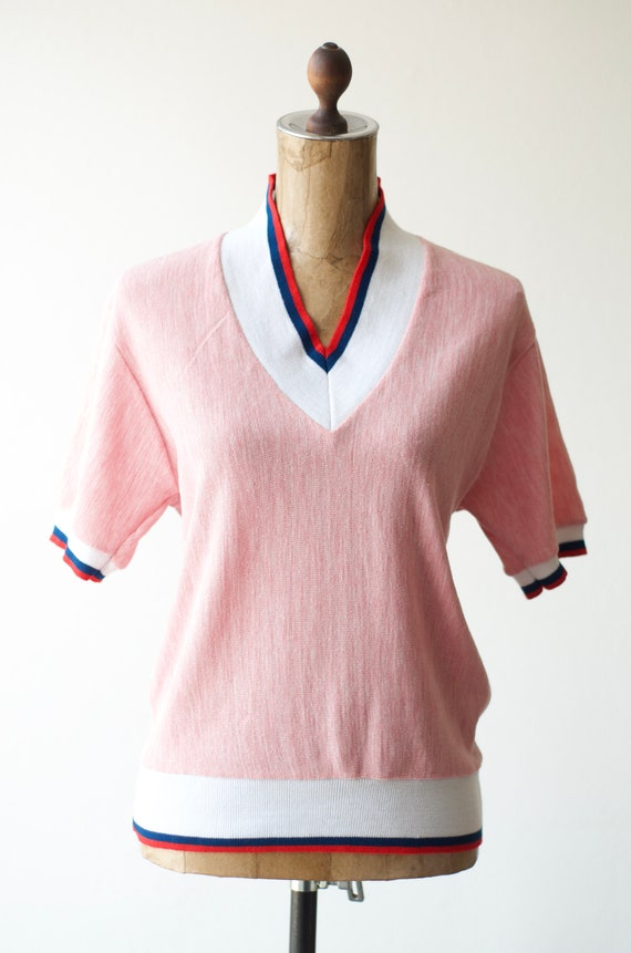 50s 60s Vintage PINK CABLE KNIT Shirt by Barclay,