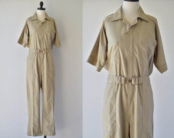 70s vintage TAN COVERALLS jumpsuit, by Sweet Compa
