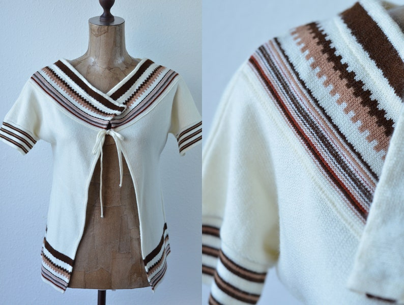 c9227713fa875a 1970 s Vintage Retro Striped Cardigan  Ivory Brown Short