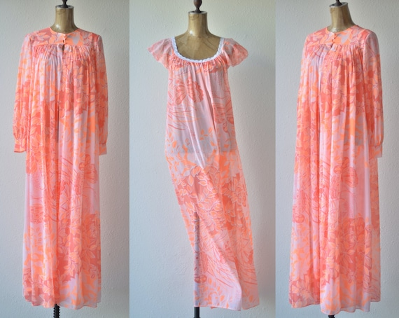 60s Vintage VIBRANT BOTANICAL PEIGNOIR set Marc by
