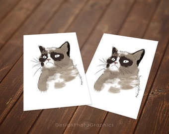 Grumpy Cat Birthday card - Greetings card - Instant Download - Printable cards