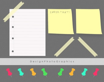Notes clip art post-it pack for scrapbooking, card making, invites