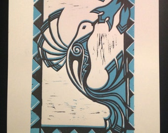 "Hummingbird Linocut ""Swift Sip II"""