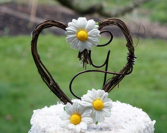 Custom Letter Vine Cake Topper With Daisies For Rustic Reception