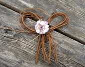 Rustic Country Arches Decor or Arbor Flower Bows Decoration, Twig Bows With Purple Rose For Bridal Shower Decor- 6 Pcs
