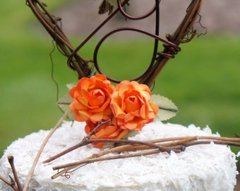 Orange Rose Cake Topper For Rustic Wedding Reception - Vine Fall Decor