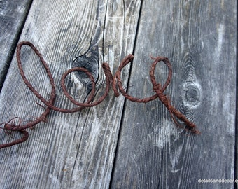 Rugged Love Hanging For Rustic Wedding, Rehearsal Dinner, Nursery Wall, Baby Shower Or Home Decor