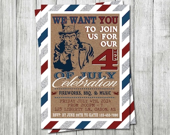 Uncle Sam Fourth of July Invitation - DIGITAL FILE - 4th of July Invitation - Independence Day Invitation - 4th of July Invite - Uncle Sam