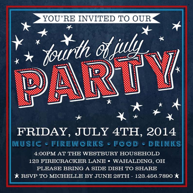 Patriotic Invitation DIGITAL FILE Fourth of July Invite 4th of July Invitation Fourth of July Party Fourth of July Invitation