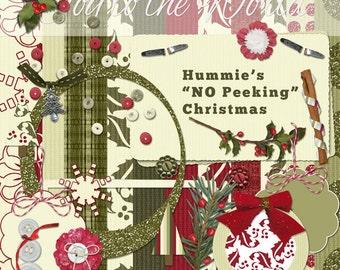 Digital Scrapbooking Kit - Hummie's No Peaking (Christmas)