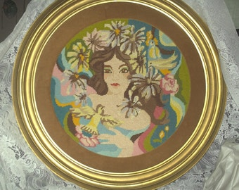 Needlepoint Woman with Birds/Flowers