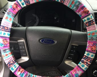 Quilt Flower Pattern Steering Wheel Cover