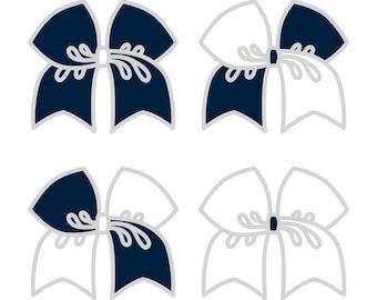 Large Light Navy/White Cheer Bow ***PRE-ORDER***