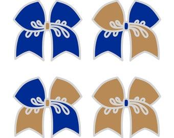 Large Royal Blue/Khaki Cheer Bow ***PRE-ORDER***