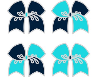 Large Light Navy/Navajo Turquoise Cheer Bow ***PRE-ORDER***
