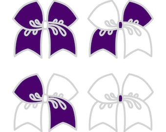 Large Purple/White Cheer Bow ***PRE-ORDER***