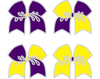 Large Purple/Yellow Cheer Bow ***PRE-ORDER***