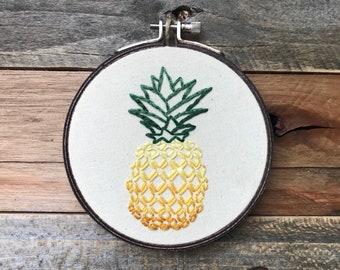 Embroidery Hoop - Pineapple | Christian Art | Wall Art | Modern Embroidery | Home Decor Gift | Hand Embroidery | Hoop Art