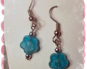 Artisan Handmade Aqua Molded Glass Floret Earrings