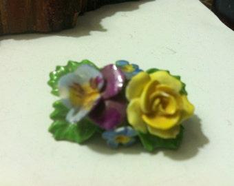 Vntg DENTON CHINA(ENGLAND) Floral Brooch Pin