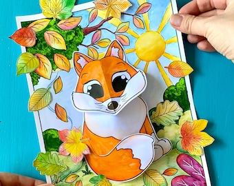 Autumn Craft | 3D Woodland Animal Collages Fox Hedgehog Owl - instant download incl. instructions