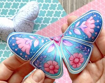 3D Butterflies with a Scandinavian Folk Art Feel - a Paper Craft - with templates and instructions