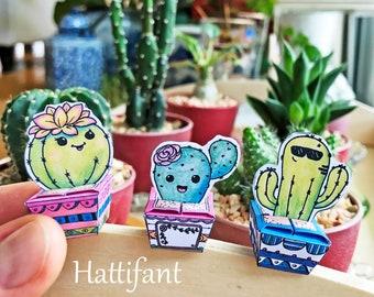 Succulent & Cactus Cutie Paper Craft Bundle | Paper Gift Box | Handmade Present | Coloring Page