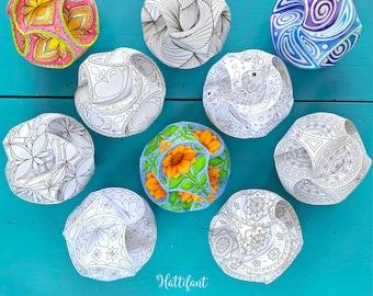 Triskele Paper Globes - Paper Balls - Paper Baubles - Paper Ornaments - 3D Paper Art - to Color & Craft