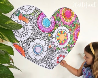 GIANT Poster | Flower Filled Heart Poster & Coloring Page
