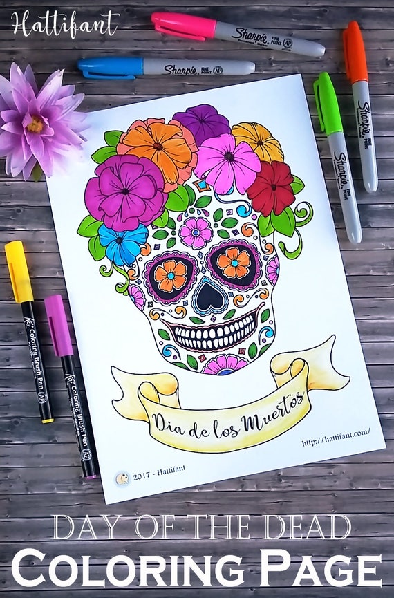 - Day Of The Dead Día De Los Muertos Sugar Skull Coloring Etsy