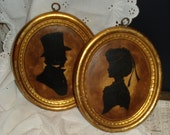 Gorgeous Vintage Silhouettes Pair Gold Black Plaster Chalk Wall Decor Hollywood Regency Cottage Chic French Country