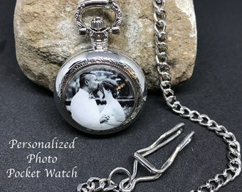5b3d67df29c90 Photo Pocketwatch - Personalized Gift for Men - Custom Pocket Watch - Gift  for Dad - Personalized Watch - Picture Pocket Watch