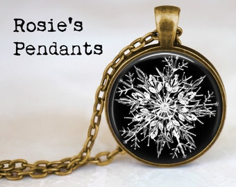Winter Snowflake on Black  4 Design - Snowflake Photograph Jewelry - Winter  Necklace - Science Lover Gift - Stocking Stuffer - Snowing 6b73ba22327f