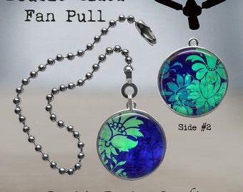 Blue Batik Light Pull Glass Light Pull Light Pull Chain Green and Blue Decor Ceiling FAN PULL Batik Ocean Colors Batik  Fan Pull