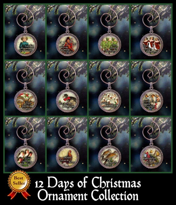 Christmas Ornament Sets.12 Days Of Christmas Ornament Collection Twelve Days Of Xmas Set Traditional Ornament Handmade Ornament Tree Ornament Set