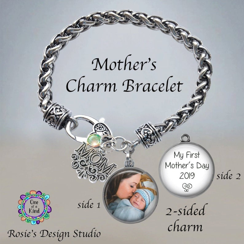 3bab2d5098a79 Mother's PHOTO Charm Bracelet - First Mother's Day Gift for Mom - Mom  Picture Bracelet - Mother's Day Bracelet - Mom and Baby Photograph