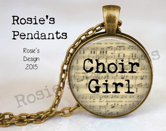CHOIR GIRL Music Jewelry - Singing Jewelry - Gift for Singer - Choir Gift - Singer Pendant - Singer Necklace - Sheet Music Jewelry