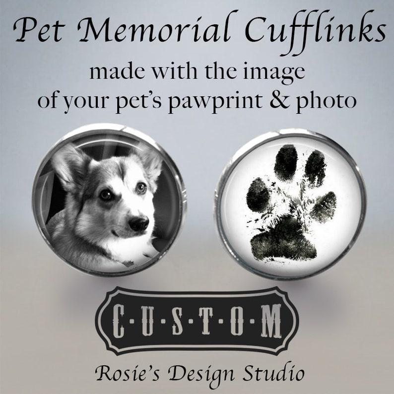 Dog Dad Gift Paw print Cuff Links Groom Cufflinks Dog Cufflinks Cat Cuff Links Pet Picture Cufflinks Pet Memorial Cuff Links
