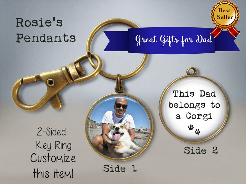 Dog Dad Keychain  Dog Dad Gift  Father's Day Picture Key image 0