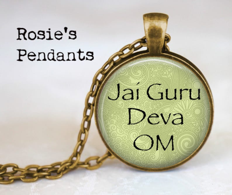 Jai Guru Deva OM Meditation Pendant Spiritualism Om Jewelry Om Pendant Necklace Yoga Boho Chic The Universe Hamsa Charm