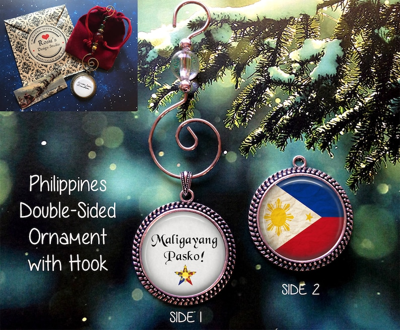 Merry Christmas In Tagalog.Philippines Flag Christmas Ornament Maligayang Pasko Ornament Filipino Family Ornament Tagalog Merry Christmas Parol Holiday