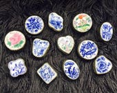 Vintage Trinket Boxes with Chinese Blue White Pottery Lids, Embossed Silver-plate Bodies, and Mirrored Insides.